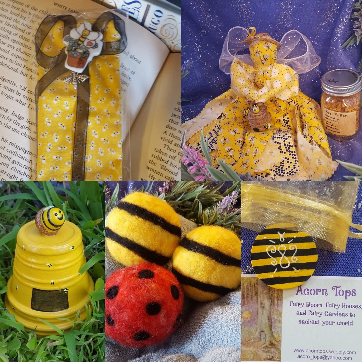 Some of the sweet #bee creations available in my #etsyshop:  https://www.etsy.com/shop/AcornTops  #handmadehour #womeninbizhour #creativebizhour #craftbuzz #bumblebee #SundayFunday #mothersdaygift #EasterGifts #SpringCollection #gardening #aromatherapy #scented #fairies #booklovers #sigilpic.twitter.com/Ix6VGPDsXJ