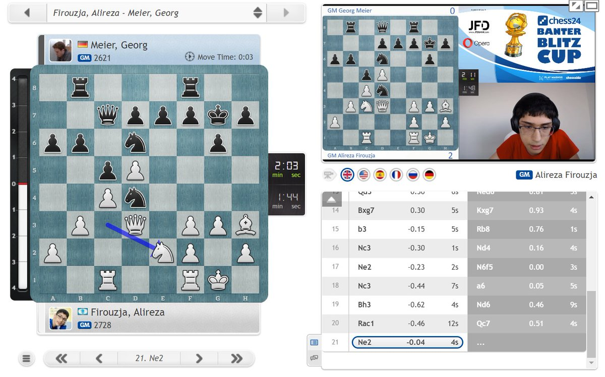 test Twitter Media - So far it's Firouzja not Meier who's been doing the flagging, moving into a 2:0 lead! https://t.co/iYiChZL6z6  #c24live #BanterBlitzCup https://t.co/72Uu7rtXNd