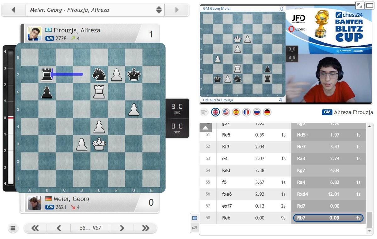 "test Twitter Media - ""This was insane... maybe his brain was not fast enough..."" :) Firouzja moves to 4:0!  https://t.co/Wvn8pzt8FI  #c24live #BanterBlitzCup https://t.co/BYsv5FKXhS"