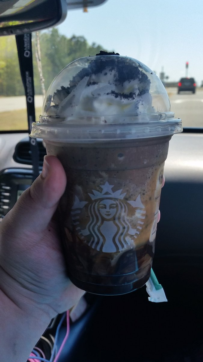 I had my very first frappuccino from @Starbucks and I have to say, I love it :D  For those wondering, I ordered a mocha cookie crumble frappuccino with caramel in the cup and topped with more cookie crumbles to get, a Chewbacca Frappuccino. <br>http://pic.twitter.com/pxB7QgLjhH