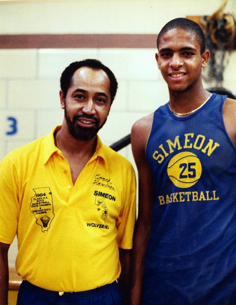 """Bob Hambric  never had a losing season in 24 years as the boys basketball coach at SIMEON Career..."" Mr. Wilson and Mr. Basketball! #BASKETBALL   the 'Meon. The Warehouse. pic.twitter.com/JF6G1OhqJS"