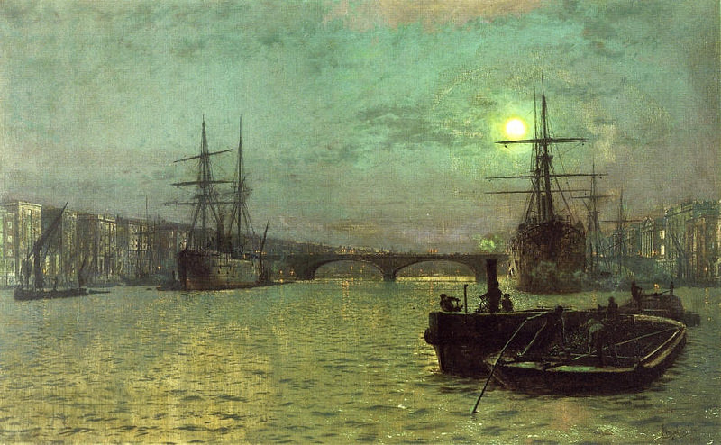 London Bridge – Half Tide (1884) by John Atkinson Grimshaw (England, 1836-1893). #Victorian #MarineArt #SailingShips  ,pic.twitter.com/J3QWoaPHFQ