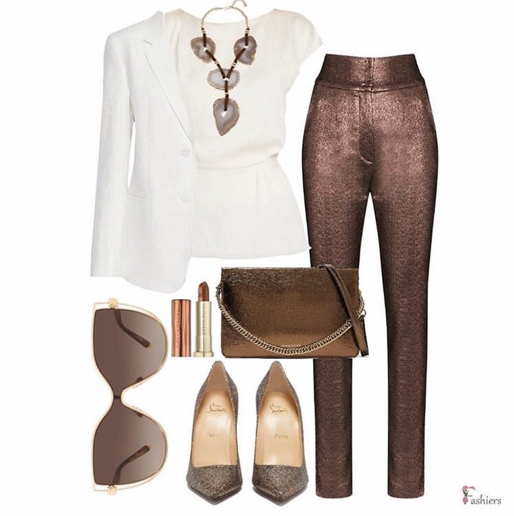 Classy style! See the full look https://bit.ly/2w9bUSf  Created with #fashiersapp get the app and build your style #fashiersapp#workoutfit #worklook #metallicpants #stylish #stylishlook #stylingtips #streetstyleinspo #streetstyleparis #givenchybag #jimmychoo #metalliclipspic.twitter.com/WSTvBFdrG5