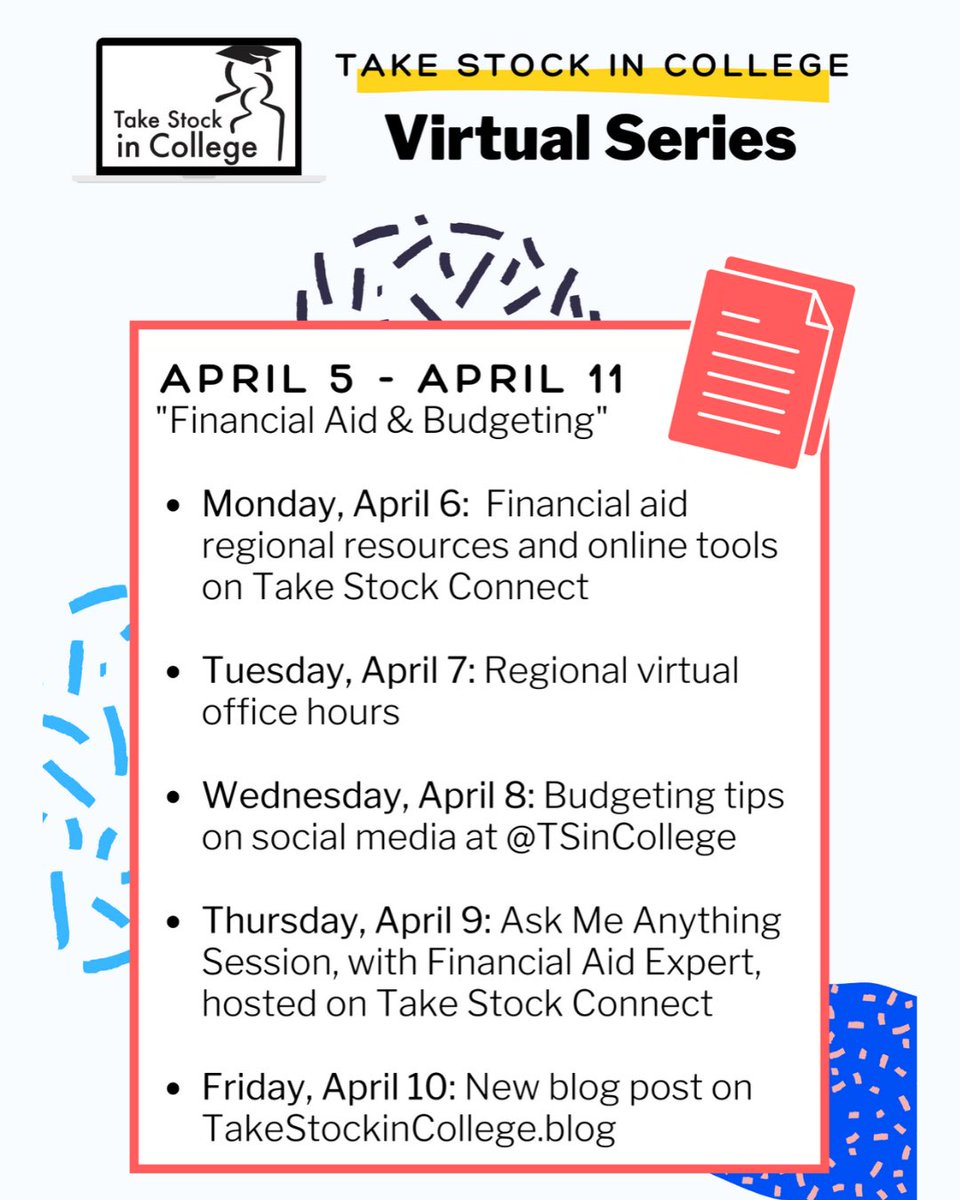 Hey Take Stock college scholars! Stay tuned for this week as we kick off a new series with you in mind! See you here and on http://TakeStockConnect.com !#TakeStockinCollege #financialaid #TakeStock #collegesuccess #collegelife #budgetingtips #onlinelearningpic.twitter.com/PLaRdS0aZi