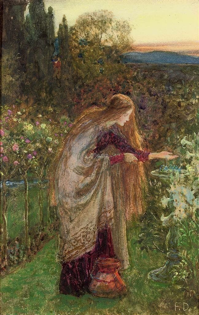 And Spring arose on the garden fair, Like the Spirit of Love felt everywhere; And each flower and herb on Earth's dark breast Rose from the dreams of its wintry rest.  ~ Percy Bysshe Shelley    Sir Frank Dicksee, The Sensitive Plant #art pic.twitter.com/55eZBjr3QV