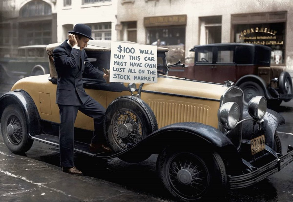 bankrupt investor Walter Thornton attempts to sell his luxury Chrysler Imperial 75 Roadster for $100 on the streets of NYC, October 29, 1929.