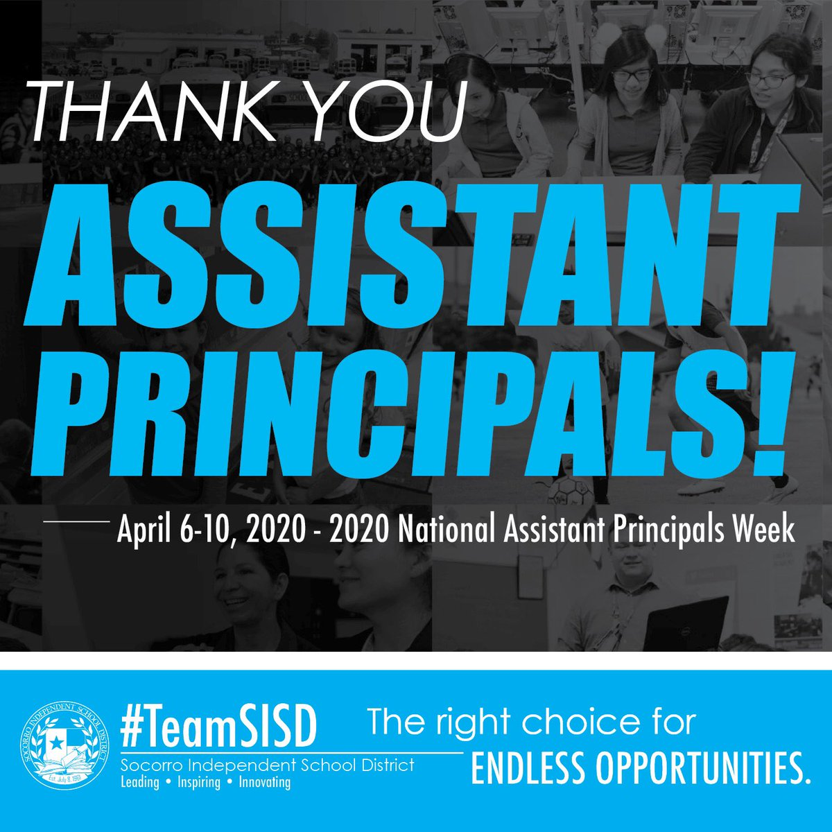 Happy National Assistant Principals Week! Grateful for our awesome #TeamSISD assistant principals, who are helping our teachers, students, staff move forward in these uncharted waters. Appreciate all you do for our schools and district today and every day! #APWeek20