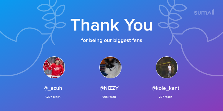 Our biggest fans this week: _ezuh, NlZZY, kole_kent. Thank you! via https://sumall.com/thankyou?utm_source=twitter&utm_medium=publishing&utm_campaign=thank_you_tweet&utm_content=text_and_media&utm_term=3defe87377848e32a216b1d0…pic.twitter.com/uK5Frgk7oH