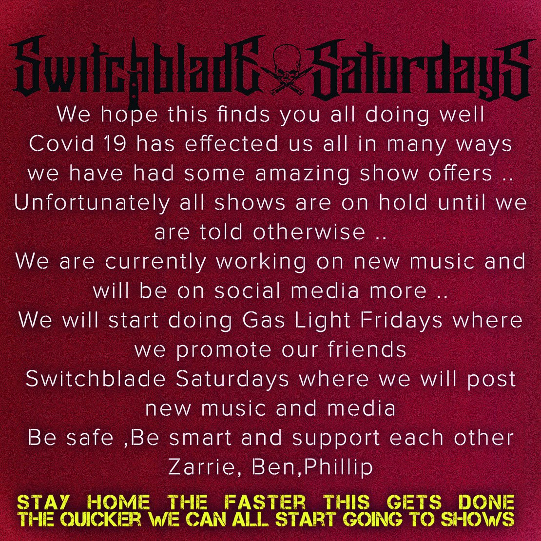 Stay Tuned #switchbladesaturdays #horror #punkrock #emo #posthardcore #stayhome #stayhealthy #staystrongpic.twitter.com/zpHQE0YBFj