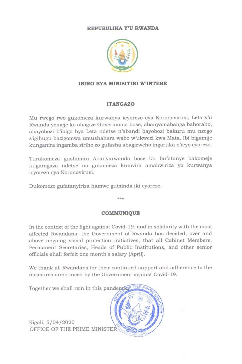 Itangazo riturutse mu Biro bya Minisitiri w'Intebe | Announcement from the Office of the Prime Minister <br>http://pic.twitter.com/w5Ac5NXzsc