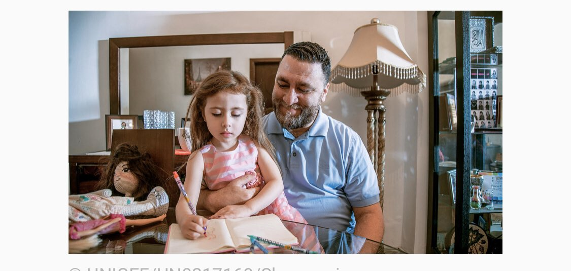 """#Genderequality during #COVID19: 5 ideas for action https://blogs.unicef.org/blog/covid-19-gender-equality-5-actions/#.XopFPf6bi_k.twitter…   #Khaled caregiver for his daughter #Natalie, #Jordan. """"Our children learn by watching and imitating us. The way we respond to them is important. We are their role model."""" @PattyArquette  @QueenRaniapic.twitter.com/RkV0uUzmQP"""