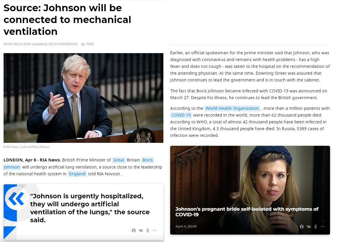 "#Russia's state media claim that ""according to sources"" Boris Johnson is being put on a ventilator. They're either lying, or have some well-placed ""sources."" pic.twitter.com/8x3kqJR9Xs"