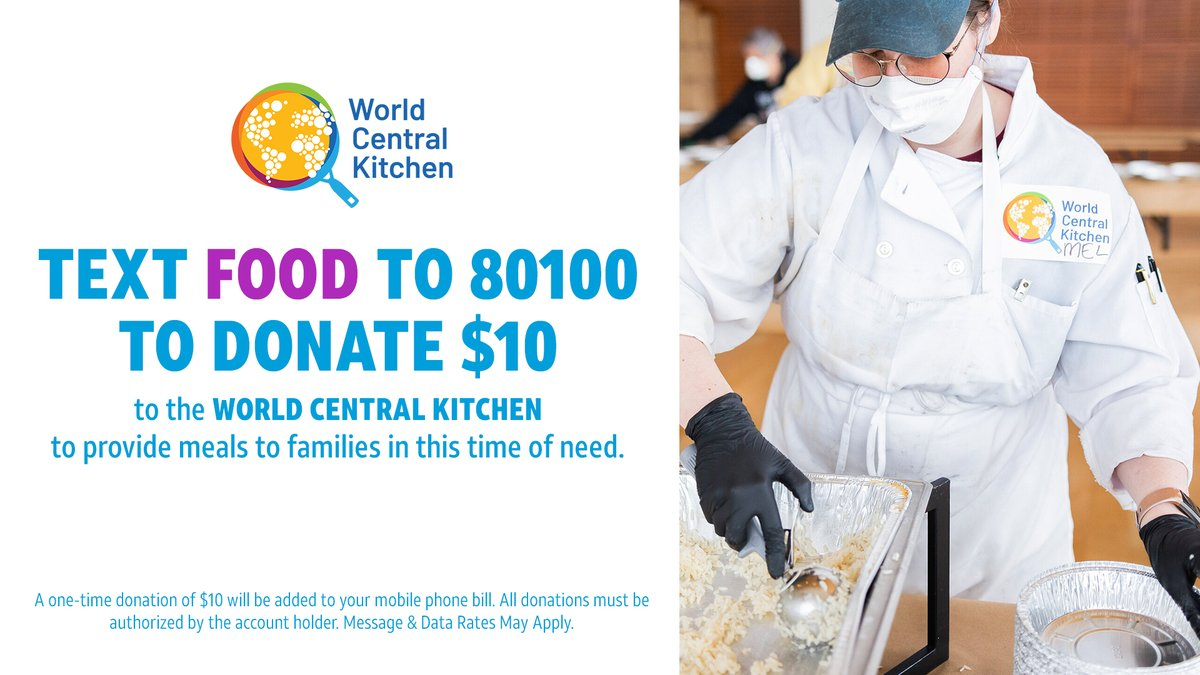 Text FOOD to 80100 to donate $10 to @WCKitchen to provide meals to families in this time of need. A one-time donation of $10 will be added to your phone bill. All donations must be authorized by the account holder. Message & Data Rates May Apply. #ConnectedTogether