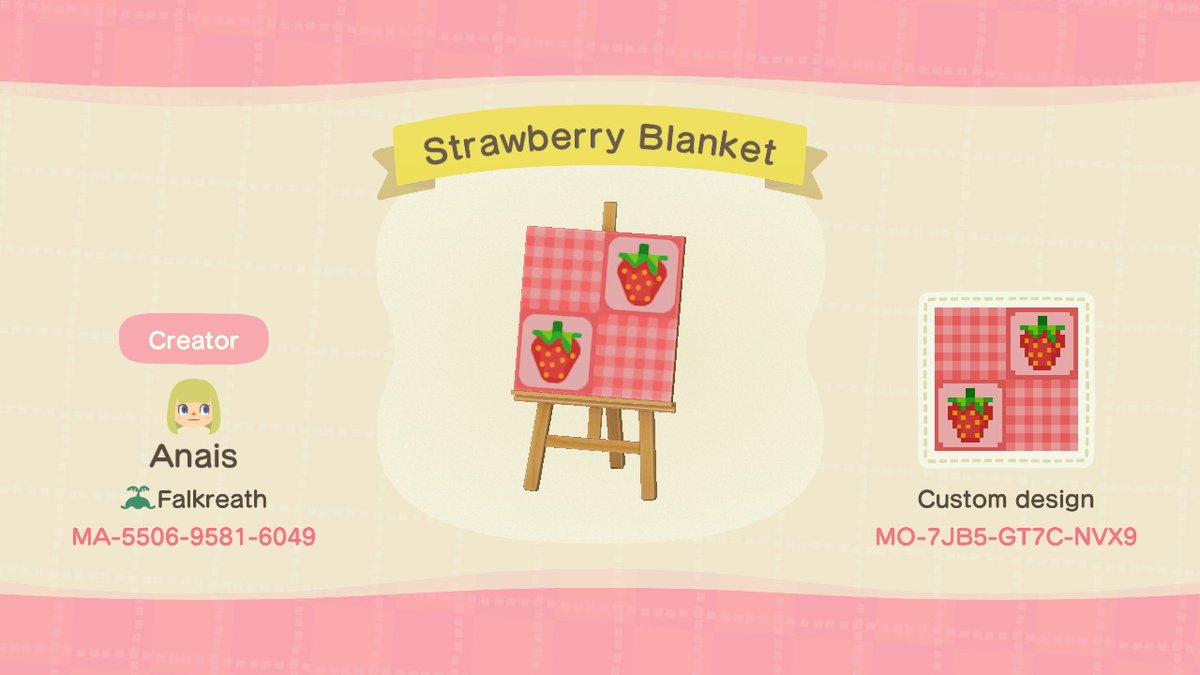 Anais On Twitter Strawberry Quilt Picnic Blanket 3 Animalcrossing Acnh Nintendoswitch Animal Crossing Qr Code