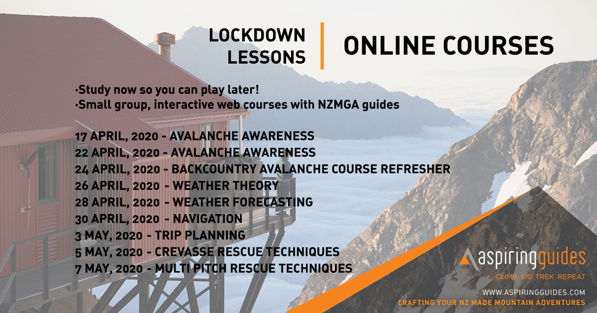 Keep your mountain knowledge fresh while you #StayAtHome with our ONLINE COURSES: interactive, web based classes with NZMGA guides. Topics include avalanche awareness, mountain weather, multi pitch rescue, navigation, and more.  Book now, spaces filling fast! <br>http://pic.twitter.com/L72Hhg5Cip