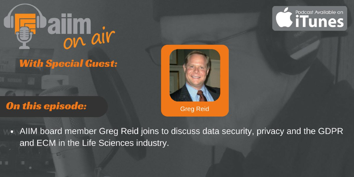 [Podcast] Gregory Reid joins us to chat about data privacy in the life sciences industry: http://bit.ly/2ft55PI  #ECM #DigitalTransformation pic.twitter.com/lQwPQrHYzZ