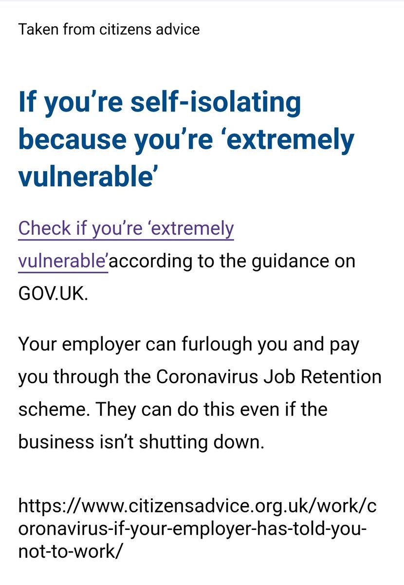 @HMRCcustomers can you confirm this is true. My employer has informed me that I'm not allowed to be furloughed as they are still open and trading. I am classed as vulnerable and have to shield for 12 weeks and unable to work from home pic.twitter.com/lHHSD83hoN