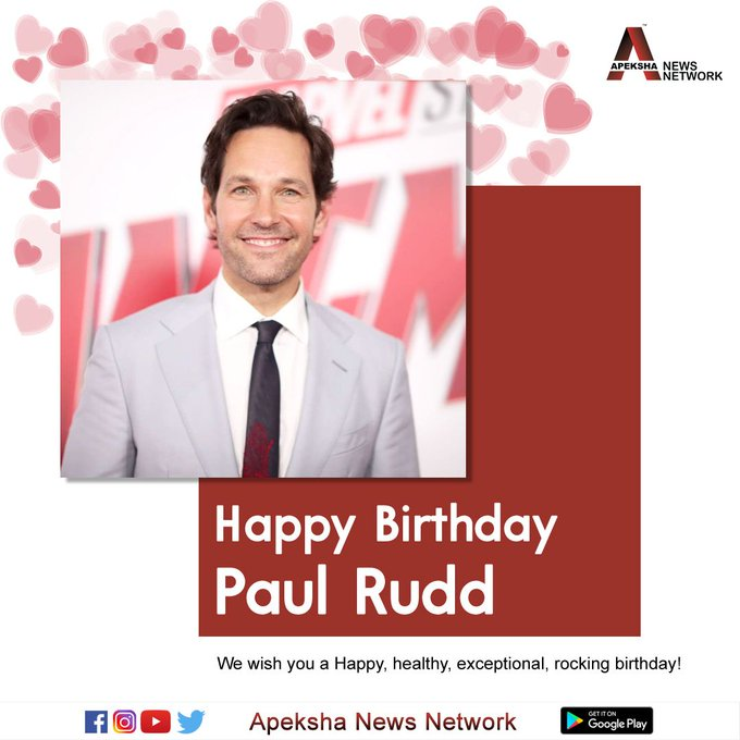 Here\s wishing the american actor, comedian Paul Rudd a very Happy Birthday.