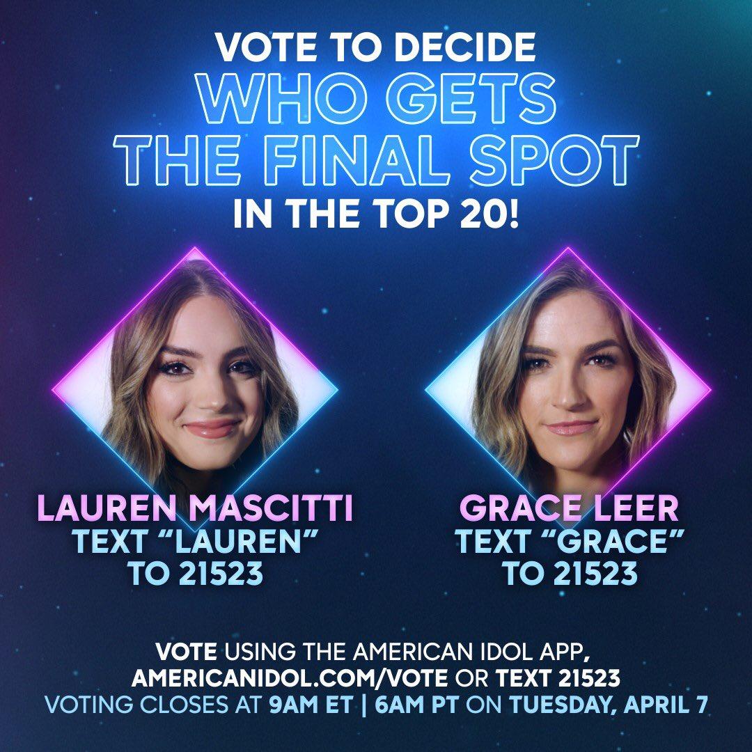 OMGEE We're leaving it to you, America! We couldn't choose between @GraceLeermusic & @LaurenMascitti so we're leaving it to you! Vote at http://AmericanIdol.com/vote #AmericanIdol @emmylousongbirdpic.twitter.com/pUPNJLTNmQ