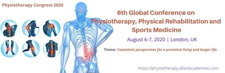 Exhibit your research ideas and views at Physiotherapy Congress 2020, during August 06-07, 2020 at London, UK  #Physiotherapy #Rehabilitation #Sportsmedicine #Yoga #Exercise #Fitness #Speakers #Workshops For more details, please visit: https://physiotherapy.alliedacademies.com/ pic.twitter.com/IvWGNR0hff