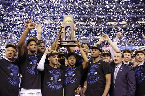 #OnThisDay in Sports History, in 2015 #Duke beat #Wisconsin 68-63 in the #NCAAChampionship. Tyus Jones had 23 points and received Most Outstanding Player.   Since 2008, it is the first time two #1 seeds reached the Championship game (Kansas-Memphis).   #DukeNationpic.twitter.com/thrar0reqL