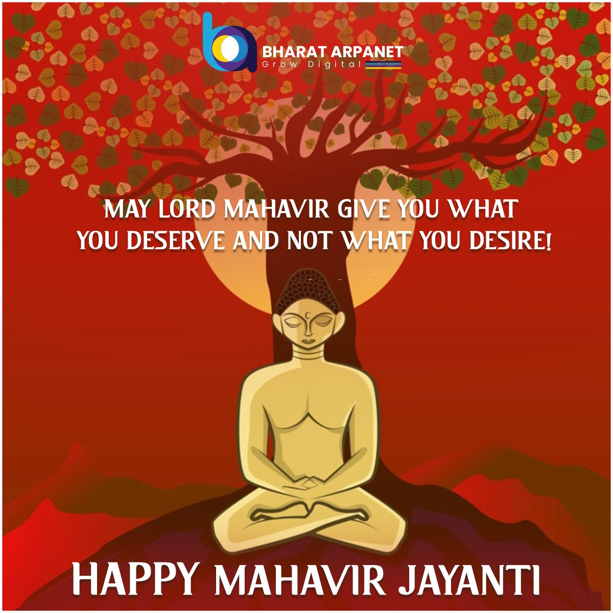 Let's Pray for Peace and Harmony for all the humankind on this auspicious day.  Happy Mahavir Jayanti!   #MahavirJayanti #HappyMahavirJayanti2020 #BharatArpanet https://t.co/r6ydXldOjn