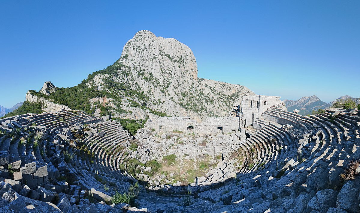 The ancient theatre of Termessos.Hellenistic,334 BC.Capacity 4.000 spectators.Asia Minor.