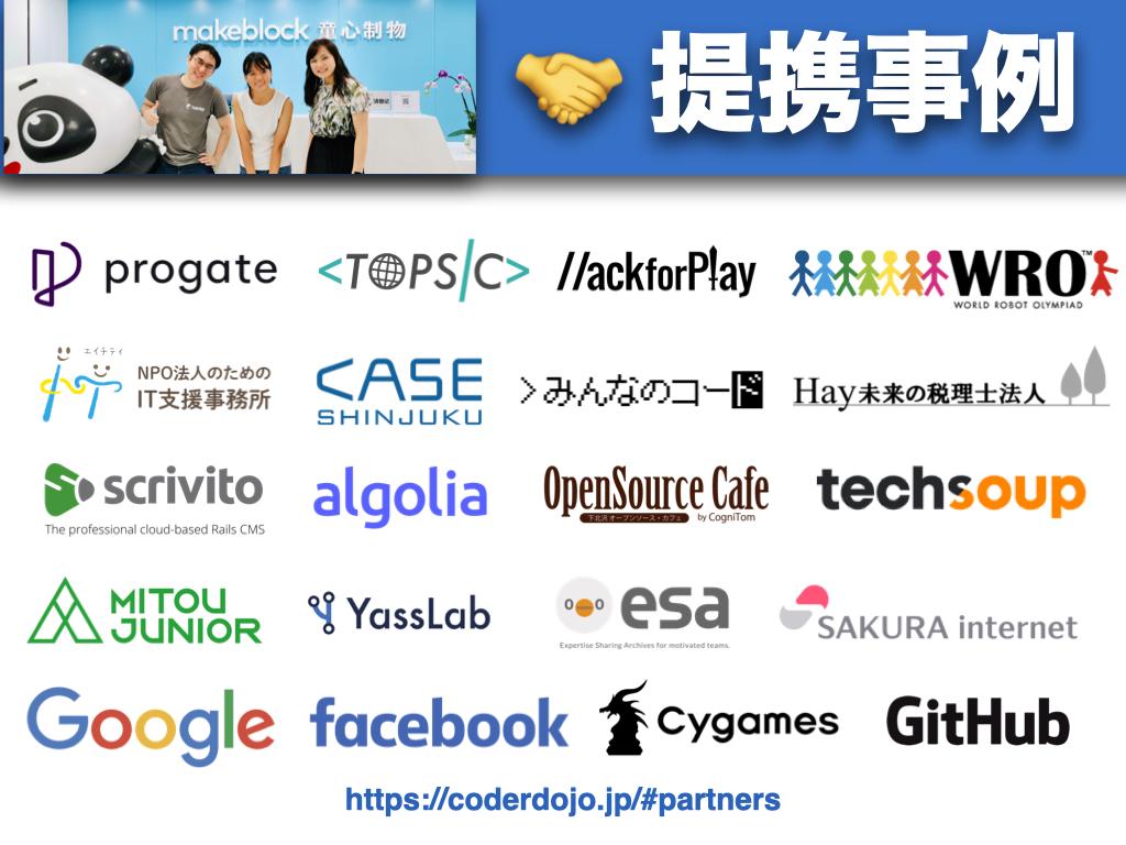 #HackforPlay との提携で、@CoderDojoJapan のパートナー法人が2️⃣0️⃣社になりました! 👏😸💖今後ともパートナー法人と協力し、全国の #CoderDojo の活動を継続的にサポートしていきます 🤝☯️✨パートナーシップに関するスライドも更新したので、もしご関心あればぜひ! 📜🆕