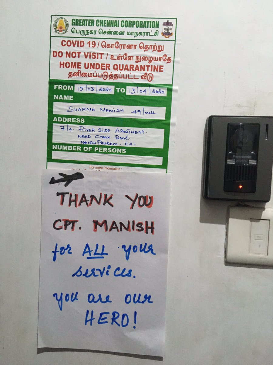 HUMANITY IS NOT DEAD YET👏 Municipal Authorities had placed a QURANTINE sticker outside the flat of @airindiain Capt Manish after he had operated an international evacuation flight. Instead of any societal backlash, his colony residents placed another sticker hailing him... https://t.co/gmdVW2hYa4
