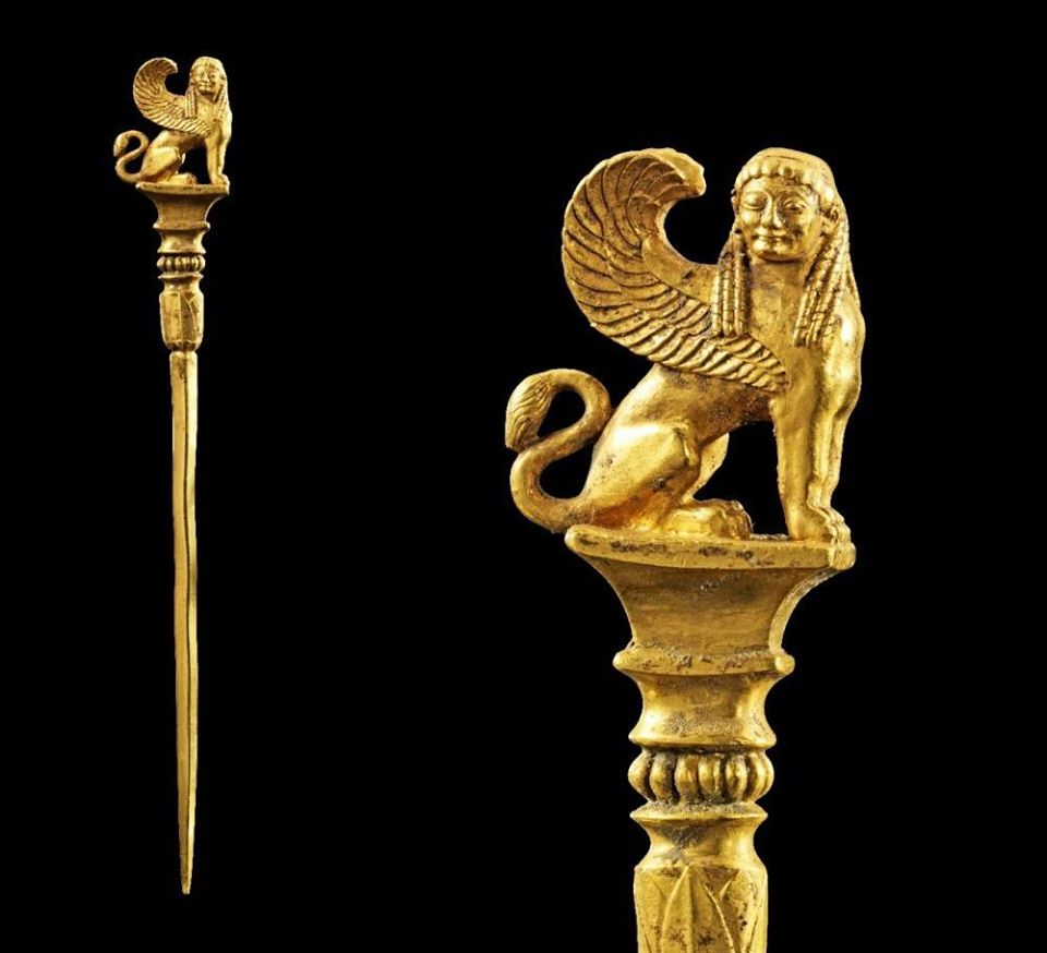 Massive golden cloak-in with Sphinx on the top.Greek,520-510 BC.