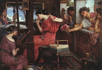 In Homer's Odyssey, Penelope was the wife of Odysseus and the #Queen of Ithaca. She waited 20 years for her husband to return from the Trojan War, remaining faithful although many suitors tried to wed her.     #MythologyMonday #mythologypic.twitter.com/5qskK2jbxA