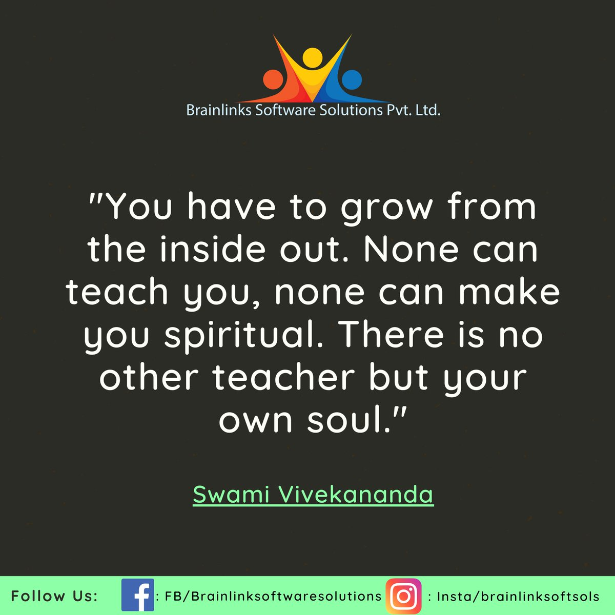 """You have to grow from the inside out. None can teach you, none can make you spiritual. There is no other teacher but your own soul."" - Swami Vivekananda  #MondayMorning #MondayMotivation #MondayThoughts #life #motivation #success #startup #quotepic.twitter.com/Qn5c2qNxEw"