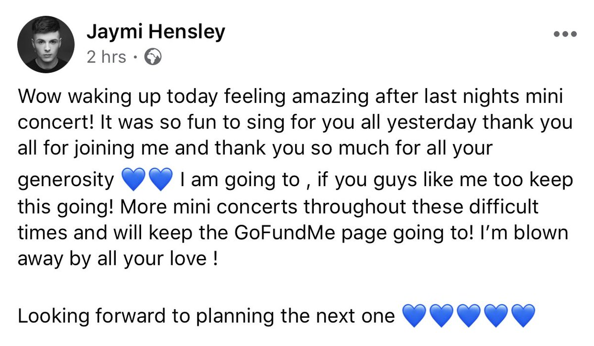 Jaymi's post on his Facebook Page this morning (06/04/20) 💙  https://t.co/2fOHDGcQmJ https://t.co/YurZEcO6R4