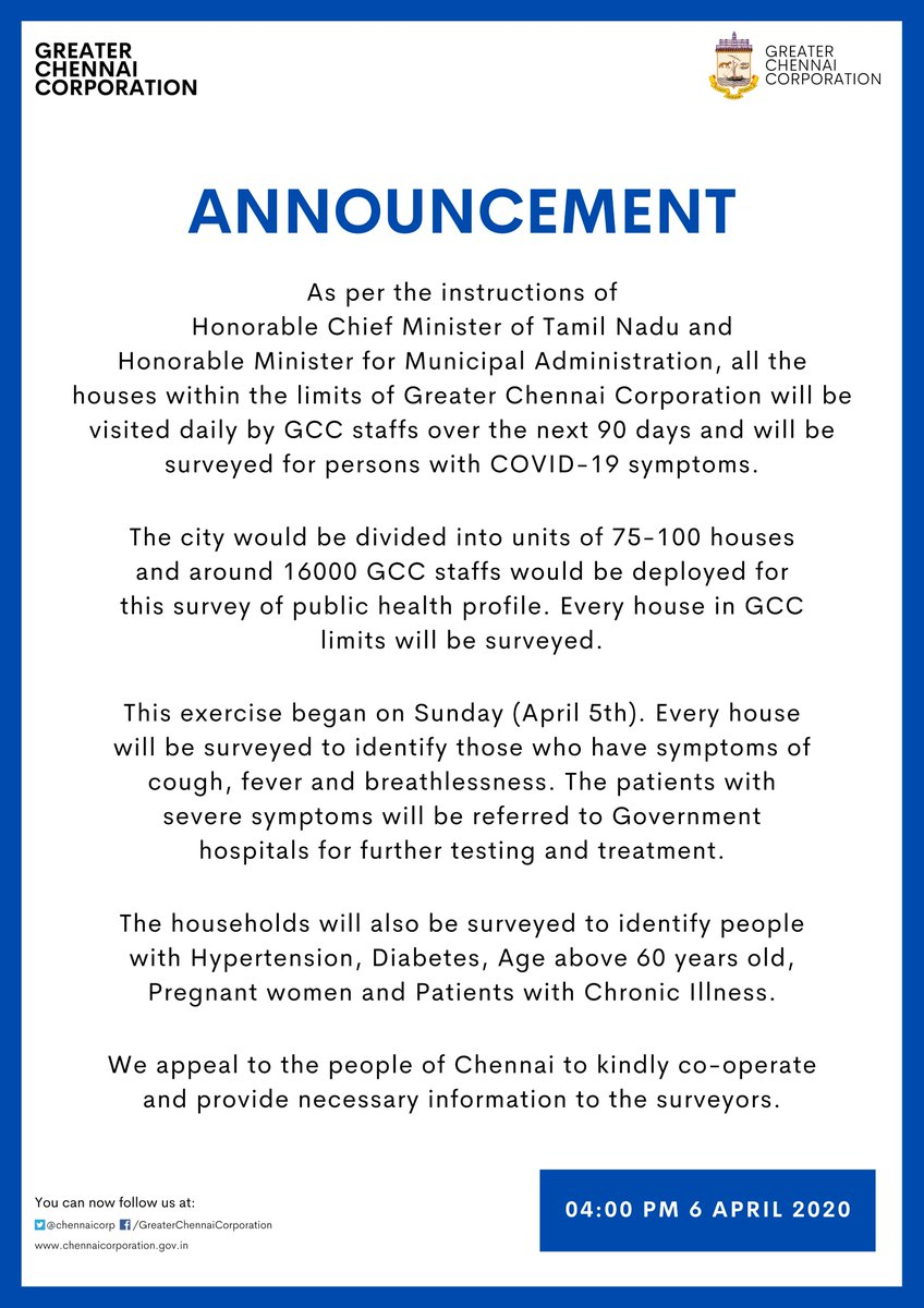 Dear #Chennai,  This public health profile survey is carried out for your wellness. Kindly cooperate.  Let's fight this Corona situation together!  #Covid19Chennai  #GCC #ChennaiCorporation https://t.co/pGfYUb09zR