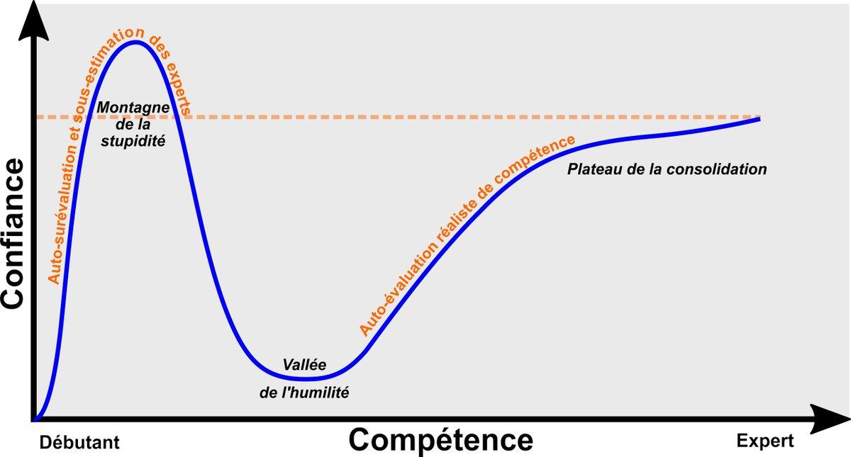 L'effet Dunning-Kruger, quand on s'est cru bon dans un domaine (pour en avoir honte ensuite). 😊  Profitons du confinement pour être meilleurs : #mooc et #téléformations nous tendent les bras !  https://t.co/AHzT0npqf4  #confinement #jesaisquejenesaisrien