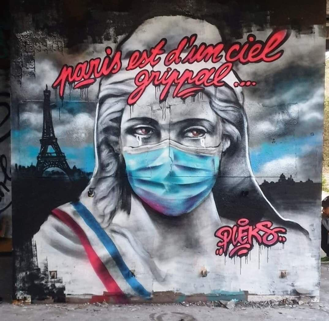 ... in the world, all over the world we must face a new cursed enemy. We are sad, grieved and tired... but we must not, we cannot give in. Love in the answer. We love in trust  Art by Pleks in Paris #StreetArt #Art #Love #Coronavirus #tears #Graffiti #Hope #UrbanArt #Parispic.twitter.com/3r7jQHVSTO