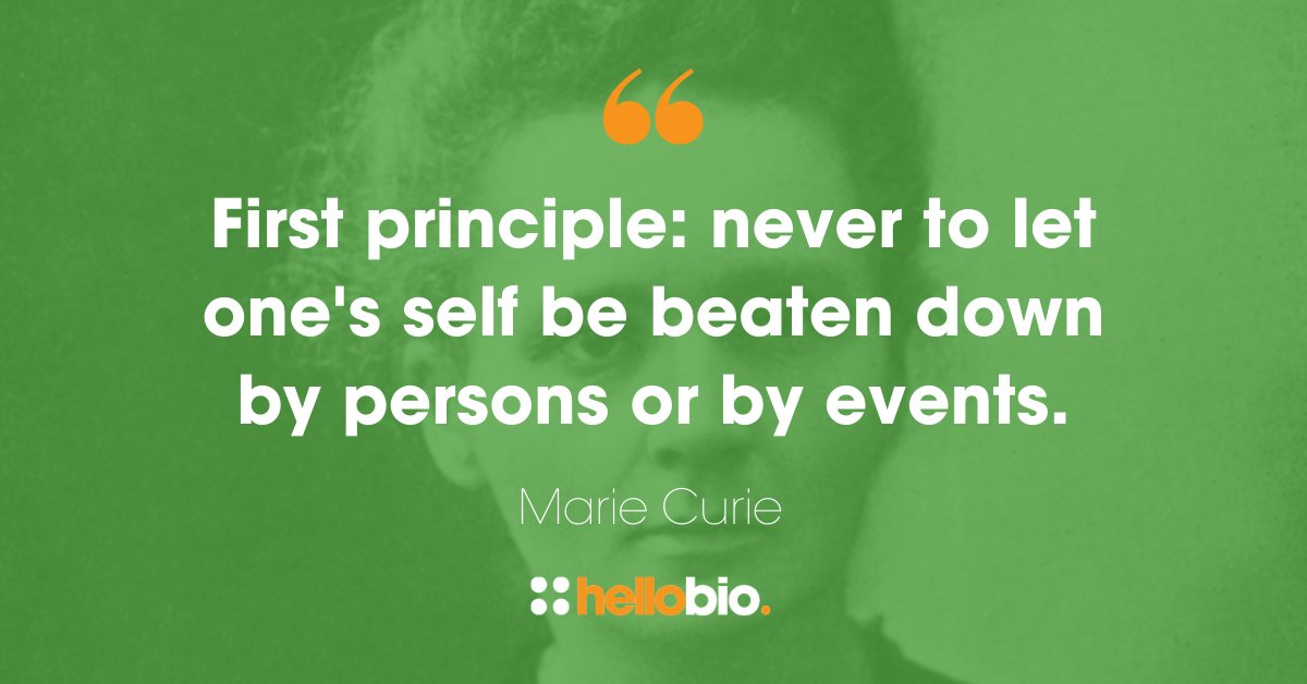 """First principle: never to let one's self be beaten down by persons or by events.""– Marie Curie  #mariecurie #sciencequotes #qotdpic.twitter.com/sVtPfp4UiF"