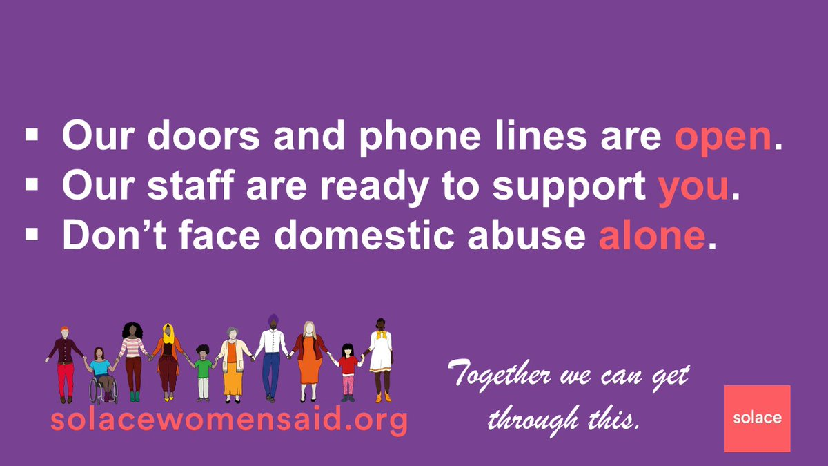 If you are worried about #domesticabuse please know we are here for you. Read about staying safe solacewomensaid.org/get-help/stayi… Solace Advice Line - 0808 802 5565 or contact the 24hr National Domestic Violence Helpline - 0808 2000 247 If you are in immediate danger call 999