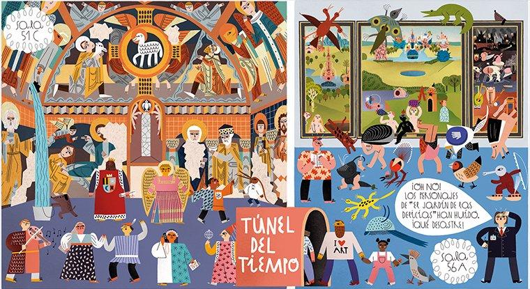 """#PradoEducación #PradoContigo Busca y encuentra a los personajes especiales que recorren la salas 56A y 51C del Prado:  ☐ Los personajes del Bosco ☐ El perro de Goya achicando agua ☐ Un hombre que ama el arte ☐ El ángel de """"La Anunciación"""" ☐ Un juglar"""