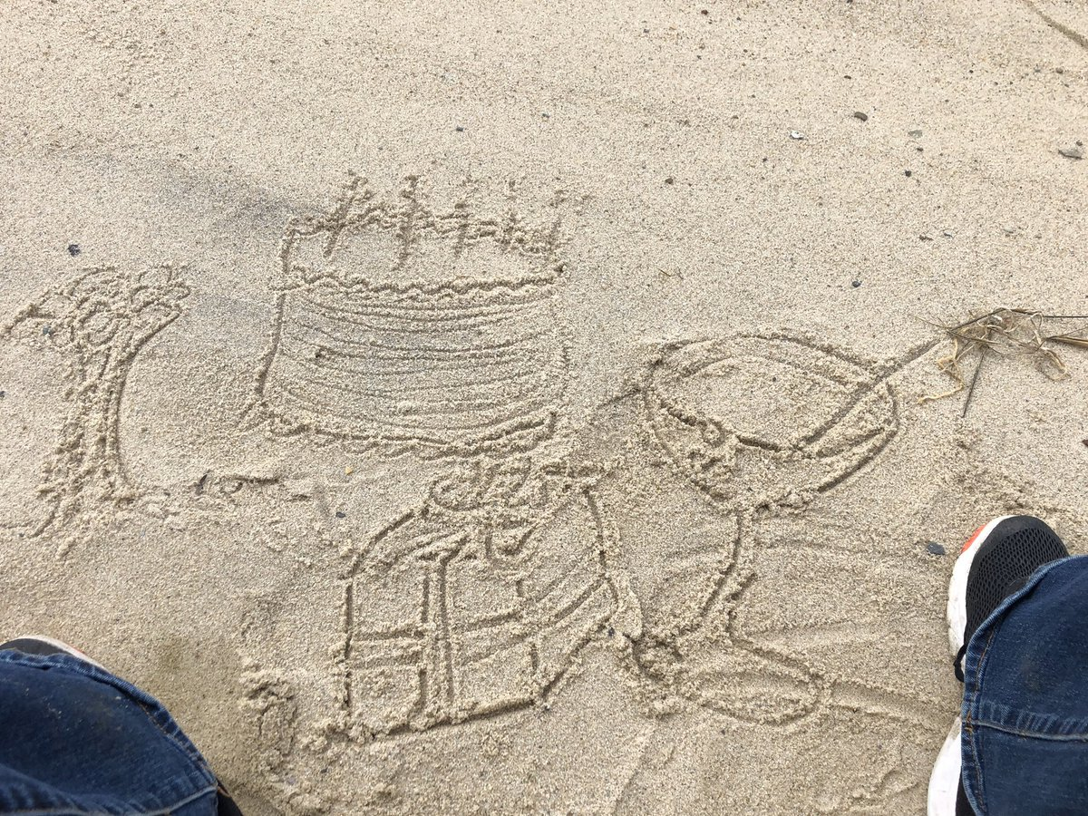 On a beach walk yesterday, I was clearly dreaming of happier times: presents, flowers, cake and cocktails. #5amwritersclub <br>http://pic.twitter.com/KdRUUQ30RF