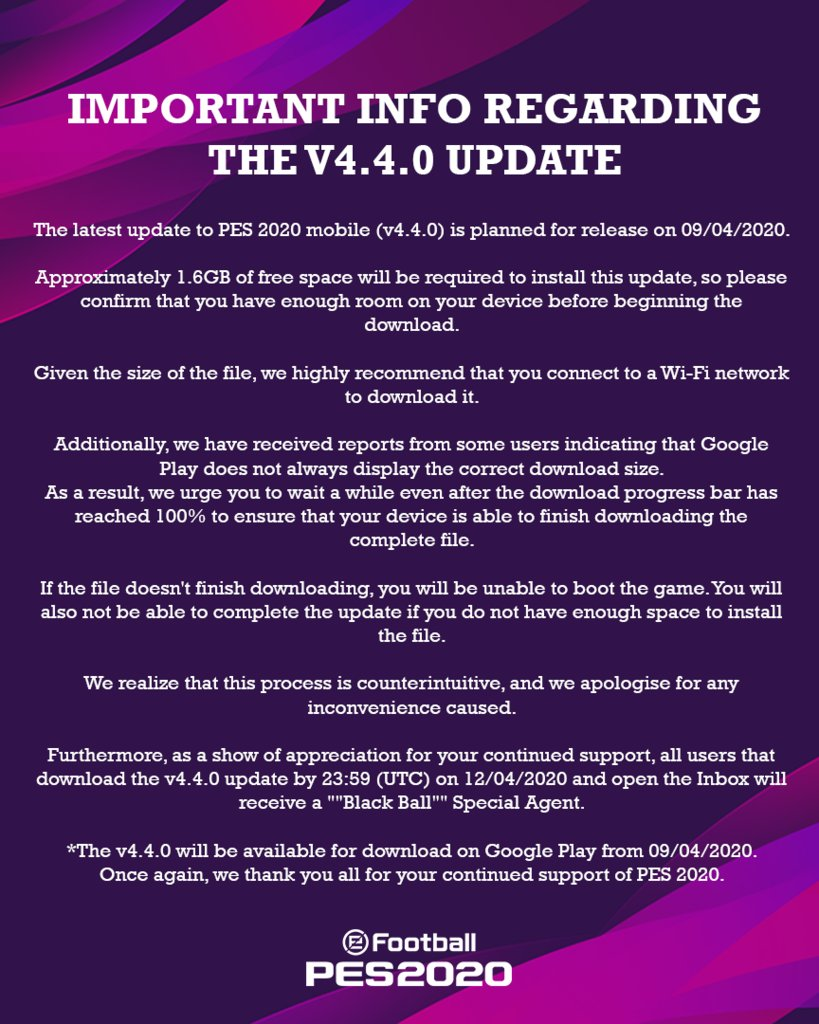 Important Info Regarding The V4.4.0 Update - #eFootballPES2020 MOBILE