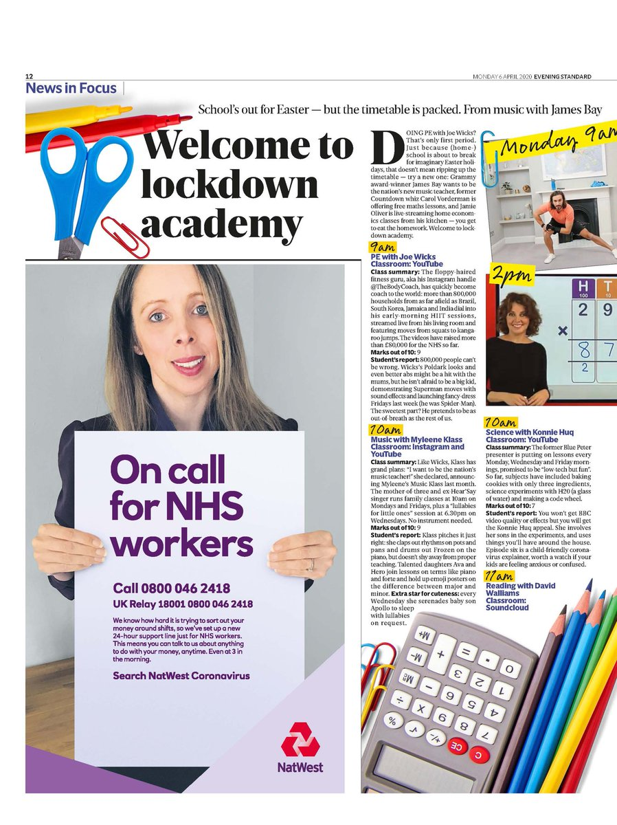 With school holidays starting, and some schools ending online lessons, here's our hour-by-hour guide in today's @EveningStandard to keep your child entertained, informed and fit during lockdown