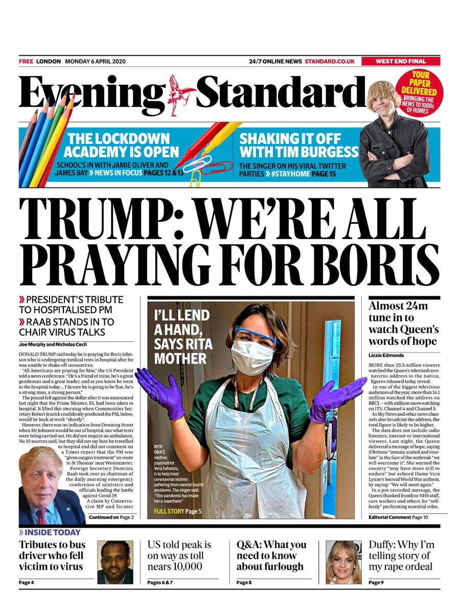 Today's @EveningStandard as Trump comments on PM being in hospital + 24 million watch Queen
