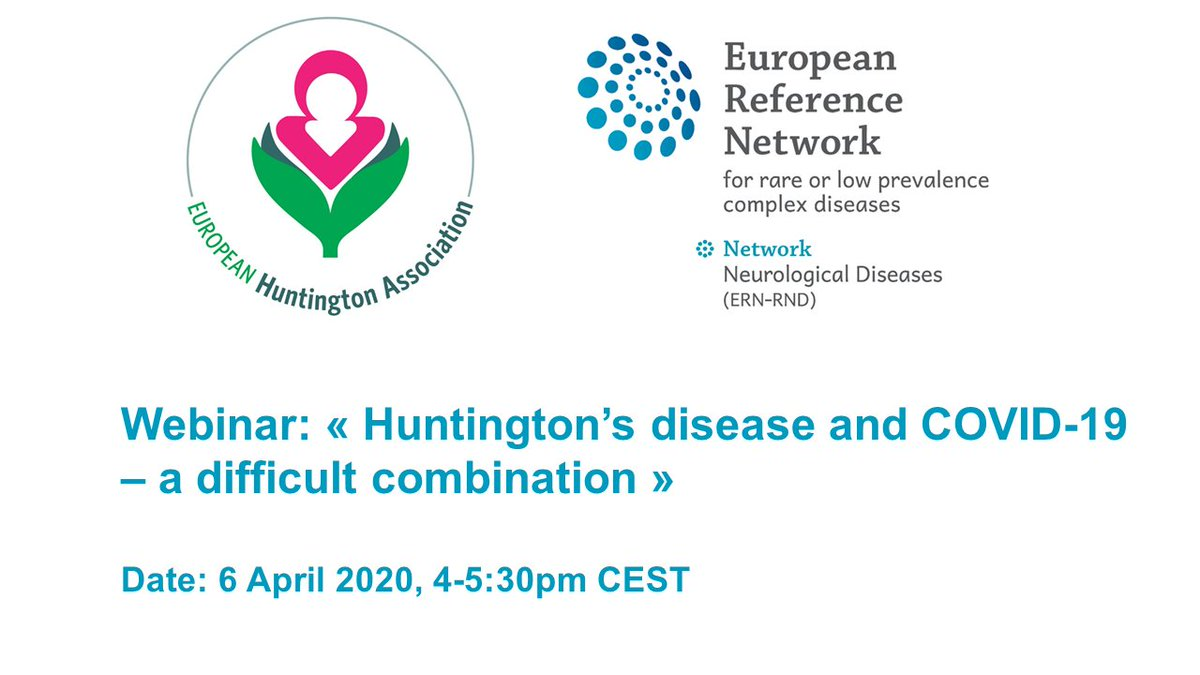 "SPECIAL WEBINAR this afternoon at 4:00pm CET organised with @EuroHuntington  for #HuntingtonsDisease patients & families on ""HD & COVID-19 - a difficult combination"" attended by a multidisciplinary & multilanguage panel of HD experts.  Join the webinar https:// bit.ly/3dLaChu     <br>http://pic.twitter.com/wBMwQqoq5e"
