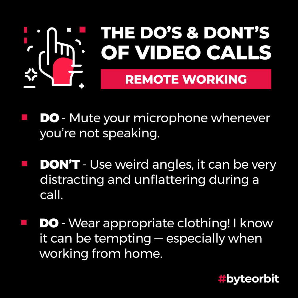 Do's & Don'ts, here are a few tips for video calls.  #videocalls #remoteworking #lockdown #software #softwaredevelopment #discoverdesigndeliver #byteorbit https://t.co/2HE9IrMDkR