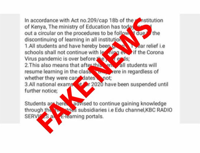 The fake Circular doing rounds on Social Media platforms about purported schools' reopening dates.