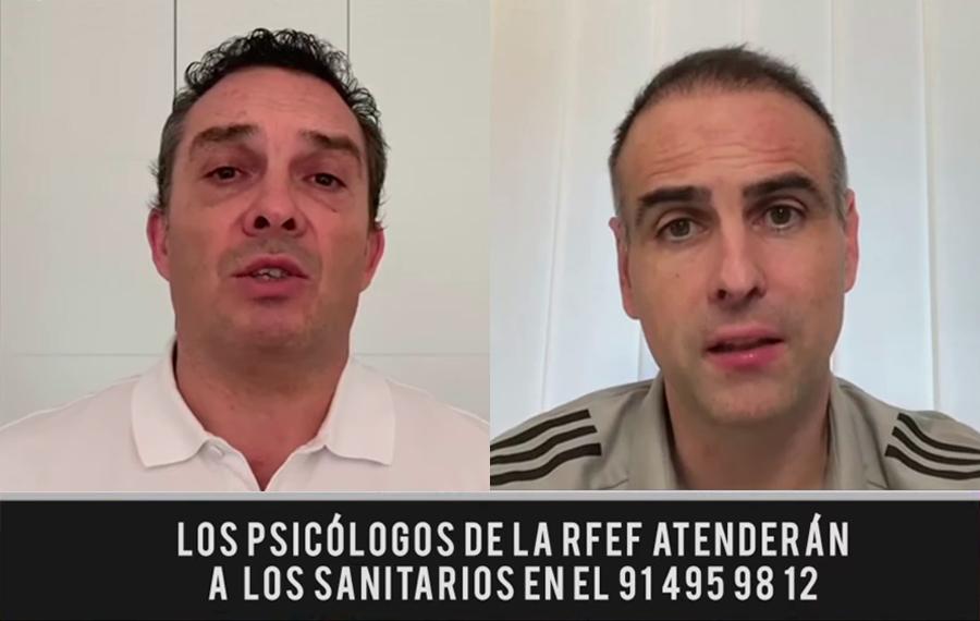 """☎ Si eres sanitario o sanitaria, nuestros psicólogos están a tu servicio. @joaquinvaldes77 y Javier López Vallejo quieren ayudarte a sobrellevar estos días a través de la RFEF.  ➡ """"Sois nuestro medio más importante"""" 💪🏻  ¡Contad con nosotros!  📞 914959812"""