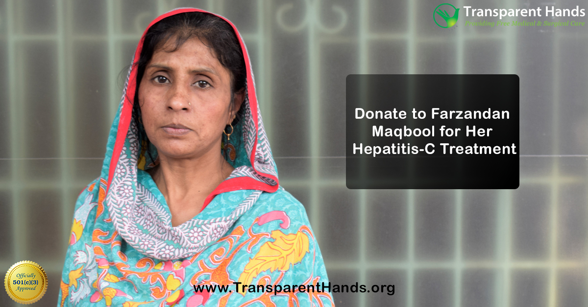 """Donation appeal:  """"I have been carrying this disease in me for five years. """" – Farzandan  With financial assistance from you, she can finally be free from her ailment. Please donate at https://www.transparenthands.org/patients-list/donate-to-farzandan-maqbool-for-her-hepatitis-c-treatment/…  #charity #donate #zakat #nonprofit #philanthropy  #csr #givebackpic.twitter.com/r1e0Jl87wt"""