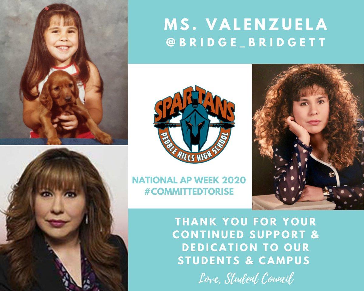It's National Assistant Principal Week! Today we honor Ms. Valenzuela. Her bright smile and welcoming personality are what make Sparta great. Thank you for everything, Ms. Valenzuela! #TeamSISD #APWeek20 #CommittedToRISE @bridge_bridgett @SocorroISD @PHills_HS