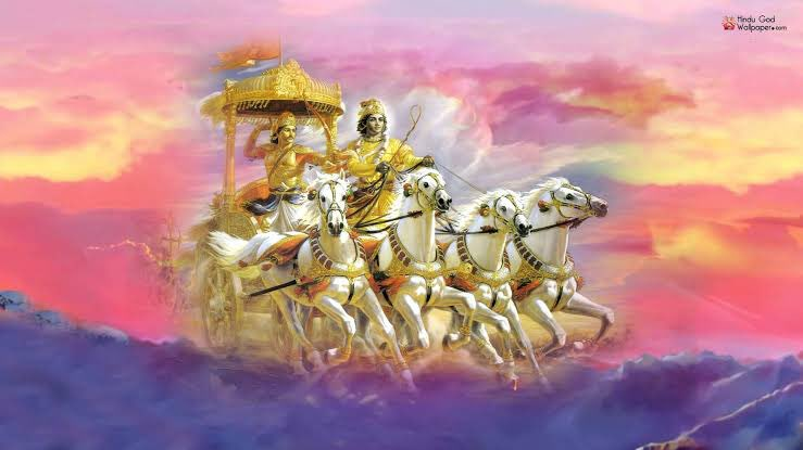 Sagarg On Twitter There Was A One With Bhishma Krishna With Wheel And Arjun In Battlefield Was My Wallpaper For Years